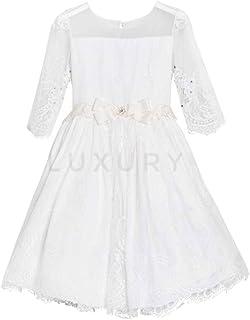 Lesy Vestido corto niña ceremonia comunión elegante crema 028313