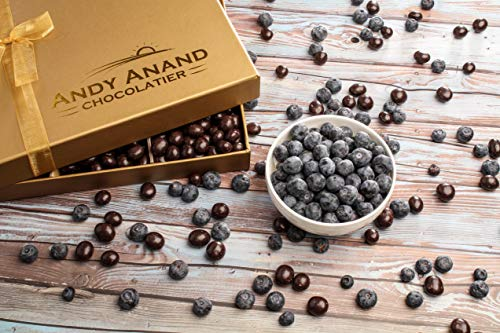 Andy Anand's Chocolates- Premium California Blueberries covered with Vegan Rich Dark Chocolate in Gift Basket, All-Natural and certified Made from Natural Ingredients – 1 lbs
