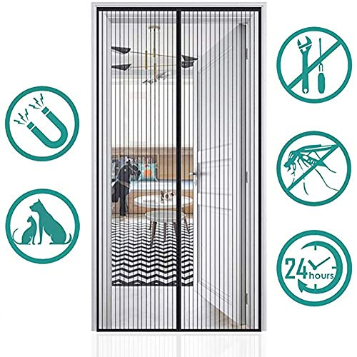 Mosquitera ventana para puerta o cortina antimoscas magnética, banda adhesiva con cierre magnético, ideal para perro o gato., 110x200cm(43x79inch)