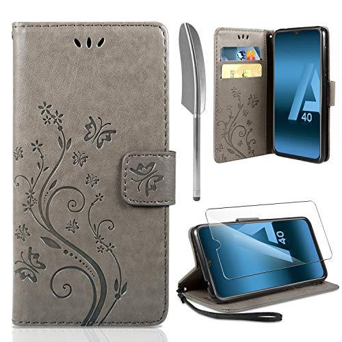 ivencase Lederhülle Samsung Galaxy A40 Flip Hülle+ HD Schutzfolie, Galaxy A40 Wallet Hülle Handyhülle PU Leder Tasche Hülle Kartensteckplätzen Schutzhülle für Samsung Galaxy A40 Grau