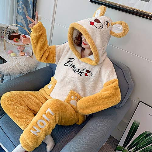 WJFGGXHK Pijama para Mujer,Tigre De Dibujos Animados Pjs Sleepwear Traje Suave Manga Larga Tops Pantalones Pantalones Set Casual Invierno Warm Loungewear Nightwear For Adult Ladies Jogging Homewear