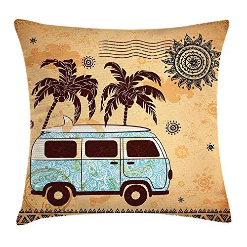 tyui7 Funda de cojín Decorativa Almohada Furgoneta de árboles Antiguos con diseño de Sol Abstracto. Tabla de Surf de Playa. Pillowcase 45x45 cm Naranja marrón Azul Cielo