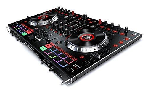 Numark NS6II - Controlador de DJ de 4 Canales para Serato DJ (Incluido), Dos Puertos USB para Transiciones entre DJs, Mezclador Digital Independiente, Jog Wheels de 6 Pulgadas y Performance Pads MPC