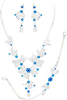 Rosemarie Collections Women's 3 Piece Rhinestone and Metal Mesh Floral Statement Necklace Bracelet Earring Set