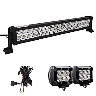 LED Light Bar, Northpole Light 22 Inch 120W Waterproof Spot Flood Combo LED Light Bar with 2PCS 18W CREE Flood LED Work Lights and 12V 40A Wiring Harness for Off Road, Truck, Car, ATV, SUV, Jeep ……