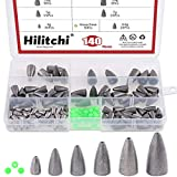 Hilitchi Assorted 6 Sizes Bullet Weights Sinker Fishing Weights Sinkers Worm Weights for Bass Fishing Saltwater (Assortment Kit)