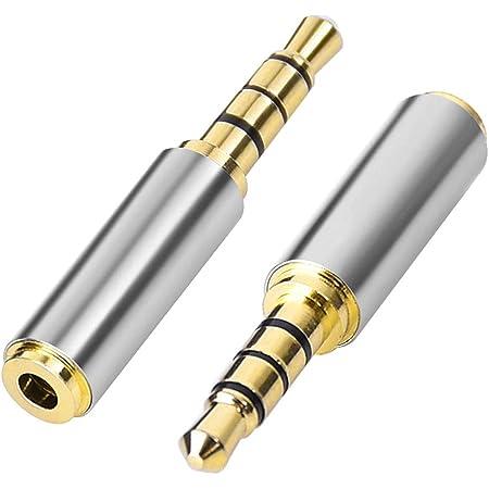 Aigital 3,5 mm Macho a 2,5 mm Hembra Adaptador de Audio Chapado en Oro micrófono Adaptador de Audio Extensor de Conector Jack para Smartphones, Altavoces, micrófonos y lectores de Tarjetas 2 Pack