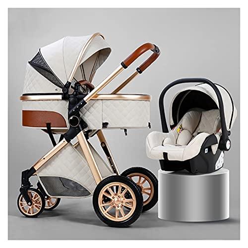 MESURE Newborn Carriage Baby Stroller 3 In 1 Foldable Baby Stroller Travel System,High Landscape Infant Pushchair Stroller,Luxury Shock Absorption Springs Pram Baby Stroller (Color : White)