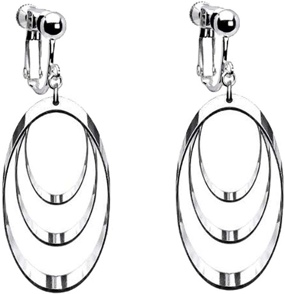 Oval Hollow Clip on Earrings Dangle Three Layered Sliver Plated for Women Girls Jewelry Non-Pierced