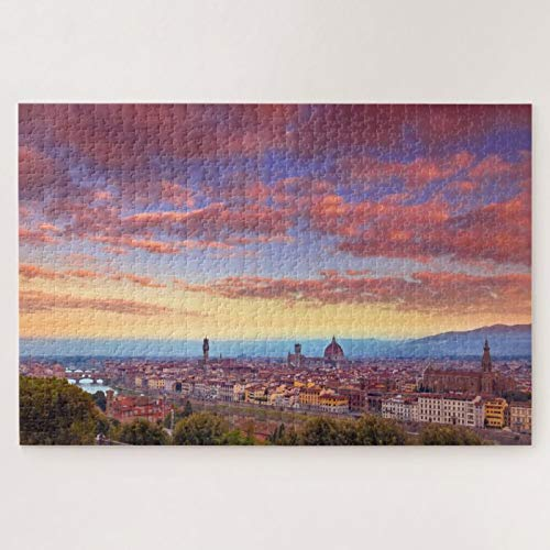 Wooden Jigsaw Puzzle 500 Piece for Adults, Dawn of Firenze Jigsaw Puzzle ame Toys ift Jigsaw Puzzle