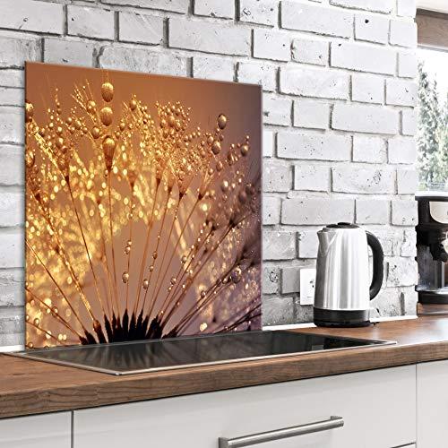 murando Spritzschutz Glas für Küche 60x60 cm Küchenrückwand Küchenspritzschutz Fliesenschutz Glasbild Dekoglas Küchenspiegel Glasrückwand Pusteblume - b-B-0429-aq-a