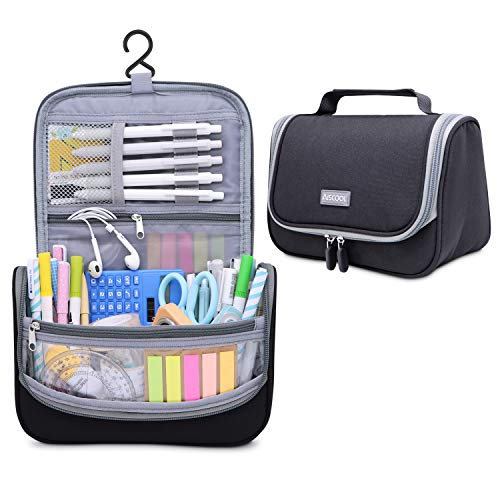Aiscool Big Capacity Pen Pencil Case Holder Bag Pen Organizer Pouch Stationery Box Oxford Cloth Dry-Wet Separation Portable Travel Hanging Bag Toiletry Bag for School Home Office Black