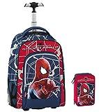 Trolley scuola Marvel SPIDERMAN 2 The Amazing + ASTUCCIO - Spallacci a scomparsa quando usato come zaino! - uomo ragno Spider-man - 30 LT pennarelli matite ecc..