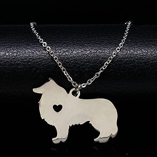 YUANBOO Edelstahl Border Collie Hundekette Halskette Haustiere Hundeaussage Halskette Frauen Schmuck Maxi Weibliche Halskette (Metal Color : 50cm O SR)