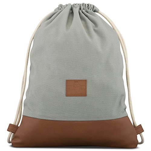 Turnbeutel Hipster Grau/Braun - JOHNNY URBAN Luke Canvas Gymsack Gym Bag Beutel Sportbeutel Rucksack für Damen & Herren mit Innentasche - Aus robustem Baumwoll Canvas und veganem Leder