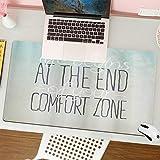 Alfombrilla para ratón (80x30 cm). El Estilo de Vida Motivacional Comienza al Final de su Concepto de Palabras de Zona de Confort,Base Antideslizante. Especial para Gamer