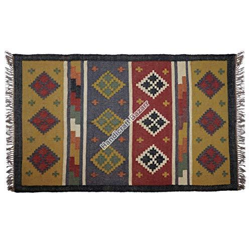 Handicraft Bazarr Woll-Jute-Läufer, wendbar, 12,2 x 18,2 cm, Heimdekorativer Teppich, Vintage-Tischläufer, Yoga-Matte, Boden, Dhurries, rustikales Teppich-Set, Meditations-Teppiche