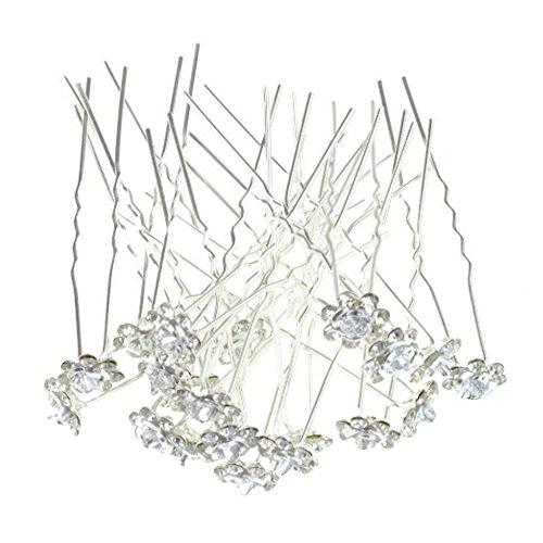 Contever Elegante 20 pz di Cerimonia Nuziale Della Festa Nuziale Artificiale Diamante Strass e Fiore di Promenade dei Perni di Capelli Clip Grips Pins Forcine - Bianca