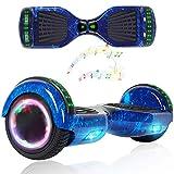 Wind Way Hover Board 6,5 Pouces - Bluetooth - Puissance 700W - Overboard LED - Skateboard Auto Equilibrage - Balance Board Tout Terrain Adulte - Enfant Cadeau Pas Cher - Bleu Galaxie