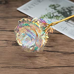 5Pcs 24k Gold Galaxy Rose Gifts for Mum Artificial Forever Rose Flower, Rose Gift for Her Wife Mum Women on Valentine's Day Mother's Day Anniversary Birthday, Mother's Day Gift from Son Daughter