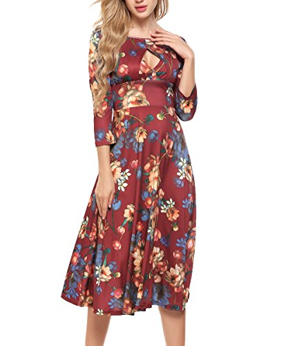 ACEVOG Women's Elegant Keyhole Midi Dress 3/4 Sleeve Party Rockabilly Swing A Line Flower Tea Dresse