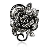 Blowin Neueste Damen Gothic Edelstahl Vintage Big Rose Blume Band Ring - 61 (19.4)
