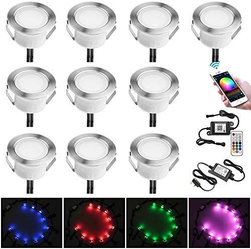 RGB Faretti LED da Incasso Impermeabile IP67 Ø45MM + Controller WiFi - Illuminazione per Terrazza/Patio/Percorso/Parete/Giardino/Decorazione, 10 confezioni