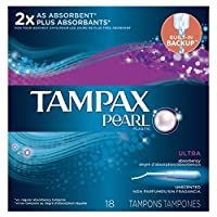 Tampax Pearl Plastic Unscented Tampons, Ultra Absorbency, 18-Count by Tampax