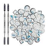 z pallete spatula - 70Pcs Metal Stickers for magnetic palette, DanziX Palette Empty Eyeshadow Makeup Palette + 2 Depotting Spatula (35Pcs Round + 35Pcs Square)