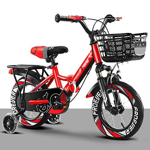 Bicicletta Chunlan Bici per Bambini 12 14 16 Pollici Acciaio al Carbonio Regolabile con La Ruota di Allenamento Ragazzo Ragazze Ammortizzatore Ad Alta Elasticità Car Basket(Size:16in,Color:Rosso)