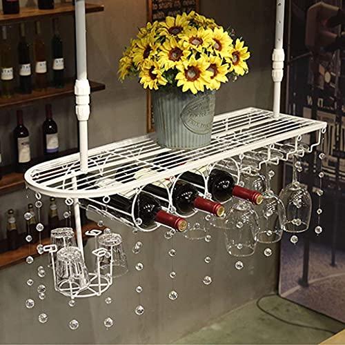 JLKDF Estante para vinos Estante para Copas de Vino Colgante de Hierro Almacenamiento Doble Estante para Botellas de Vino Ajustable Estante Retro para Copas Estante para Vasos de Whisky