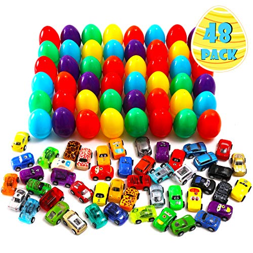 48 Packs Easter Eggs with 48 Assorted Pull Back Race Cars for Kids Easter Egg Hunt Games, Cute Pull Back Vehicle Toys For Easter Basket Stuffers, Carnivals School Supplies and Gift Exchange