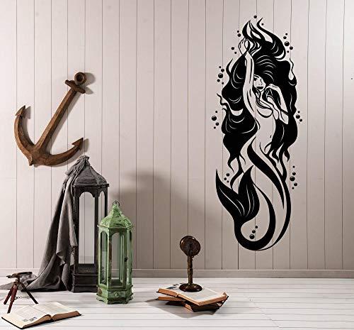 Lámpara de pared de vinilo sexy decoración de baño sirena chica hotel baño pegatina de vidrio M 28x76cm