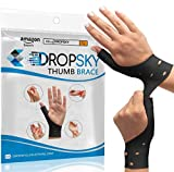DropSky [4pcs] Gel Wrist Thumb Support Braces Soft Waterproof Breathable, Relief Pain Carpal Tunnel, Arthritis Thumb, Fits Both Hands, Lightweight, Therapy Rubber-Latex, Stabilizer Support (Black)