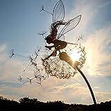 Faries and Dandelions Dance Together Sculpture,Fairy Garden Metal Yard Art Statue,Garden Stakes Decor ,Fairy Garden Accessories. (Cross-Column)