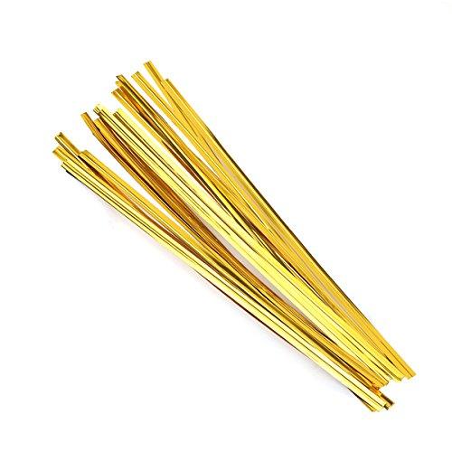 Ounona fascette metalliche per chiudere sacchetti, ideali per regali, sacchetti di caramelle, pane, cioccolato, 10 cm, color oro