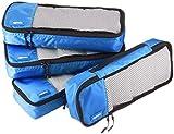 Amazon Basics - Bolsas de equipaje alargadas (4 unidades), Azul