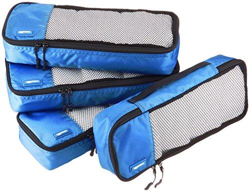 AmazonBasics - Bolsas de equipaje alargadas (4 unidades), Azul