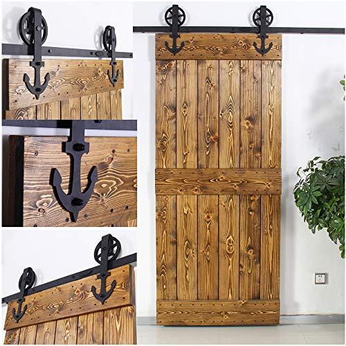 228cm/7.5FT Vintage Spoke Industrial Rad Schiebetür Barn Holz Innen Tür Schiebetürbeschlag Set Schiebetürsystem/sliding barn door hardware