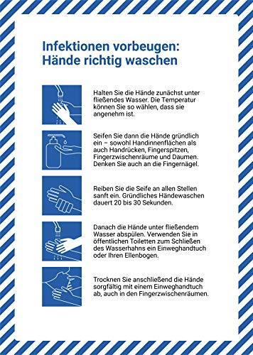 5 Stück Infektionen vorbeugen Premium Aufkleber A4 | 21 x 29,7cm die Hände richtig waschen Hygienevorschriften Sticker mit UV Schutz für Außen-und Innenbereich