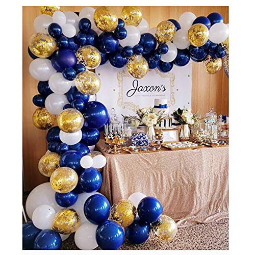 Soonlyn Navy Blue Gold Balloon Garland 130 Pcs 12 Inch Confetti Balloons Matte White Latex Balloon Arch Kit with Balloon Accessories for Baby Shower 1st Birthday Wedding Party