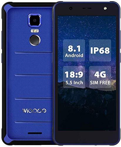 Outdoor Smartphone Ohne Vertrag 4G 5,5 Zoll 18:9, NFC, Android 8.1, Robustes Outdoor 2GB+16GB, 13MP+8MP, Rugged Smartphone Dual SIM Staubdicht und Stoßfest,4000mAh Wieppo E1 Blau