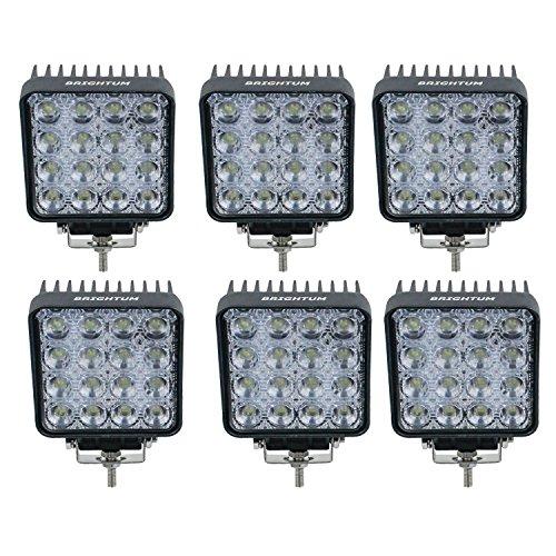 """BRIGHTUM 4.3\"""" faro da lavoro a LED da proiettore fendinebbia fanalino luce anteriore e posteriore per autoveicoli fuoristrada barche trattori camion veicoli industriali 12V 24V (6 pezzi)"""