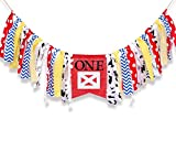 WAOUH Farm High Chair Banner for 1st Birthday - First Baby Birthday Party Theme Decoration, Fabric Garland Cake Smash Photo Prop,Birthday Souvenir and Gifts (Red Birthday Banner)