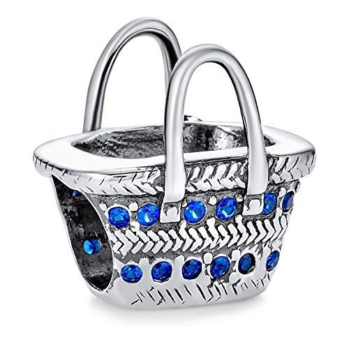 Strand Picknick Korb Sonnenbrille Blau Zirkonia Urlaub Reise Charme Perle 925 Sterling Silber Für Europäische Armband