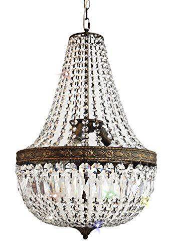 Kronleuchter, Kristallleuchter, Korblüster, Lüster, Leuchter, Lampe Florence Ø40cm für die Wohnung im angesagten Antiken-Stil, gefertigt aus geschliffenen Kristallen - PGA Lights