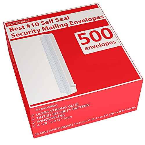 500 Self Seal Security Mailing Envelopes - #10 White Letter Businesses Envelopes -500 Peel and Seal Tinted Windowless # 10 Envelope - Printer Friendly - Self Stick Bulk Envelops