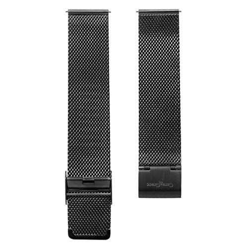 Cara & Grace Premium Uhrenarmband Edelstahl Mesh in Schwarz 20 mm