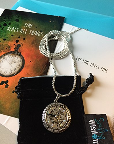 Smiling Wisdom - Clock Necklace & Time Heals All Things Greeting Card Gift Set - Long Chain Sweater Necklace - to Comfort, Lift a Friend, Encourage, Grief, Loss, Illness, Bereavement, Sorrow