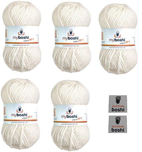 Myboshi No. 1, Merino-Wolle Mix im 5er Set Vorteilspack, Weiß (Fb.-Nr.: 191) Handstrickgarn, Häkelgarn, Mützenwolle zum Häkeln und Stricken, inkl. 2 myboshi Label